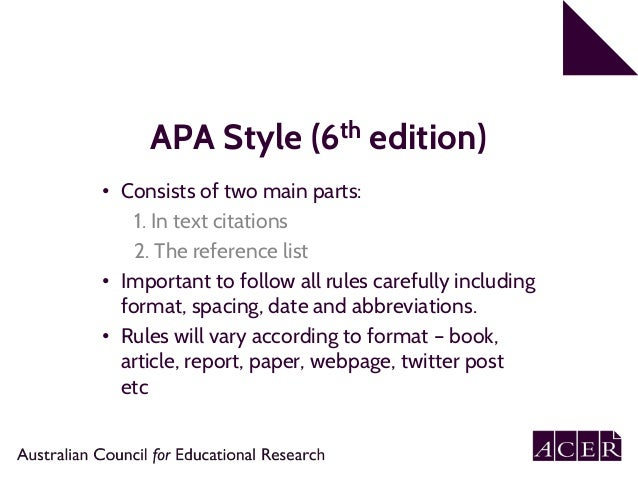 apa 6th edition referencing part 1 in text citation rh slideshare net apa style manual 6th edition citation Website Citation APA 6th Edition
