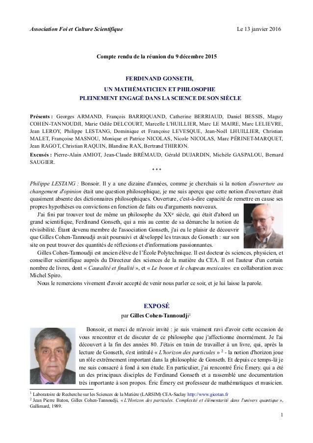 Association Foi et Culture Scientifique Le 13 janvier 2016 Compte rendu de la réunion du 9 décembre 2015 FERDINAND GONSETH...