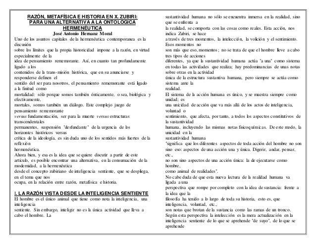 RAZÓN, METAFÍSICA E HISTORIA EN X. ZUBIRI: PARA UNA ALTERNATIVA A LA ONTOLÓGICA HERMENÉUTICA José Antonio Hernanz Moral Un...
