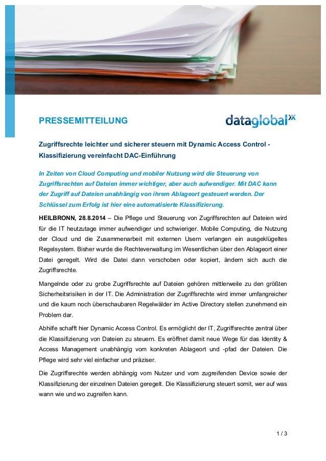 PRESSEMITTEILUNG 1 / 3 Zugriffsrechte leichter und sicherer steuern mit Dynamic Access Control - Klassifizierung vereinfac...
