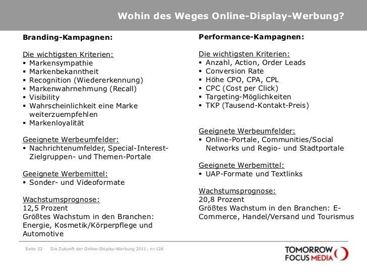 Wohin des Weges Online-Display-Werbung?<br />Seite 32<br />Die Zukunft der Online-Display-Werbung 2011; n=128<br />Perform...