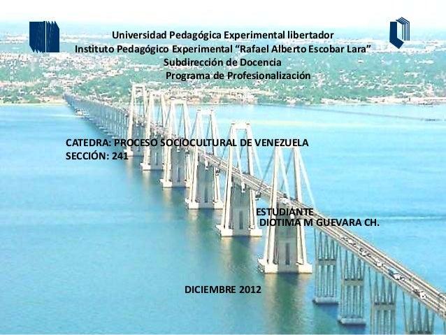 "Universidad Pedagógica Experimental libertador Instituto Pedagógico Experimental ""Rafael Alberto Escobar Lara""            ..."