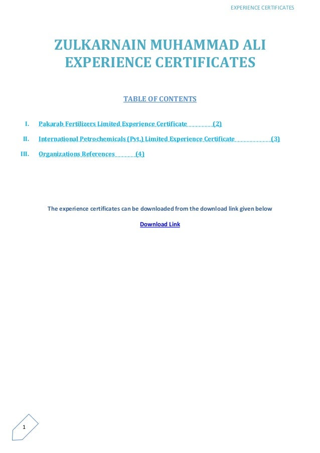 zulkarnain muhammad ali experience certificates from multan pakistan