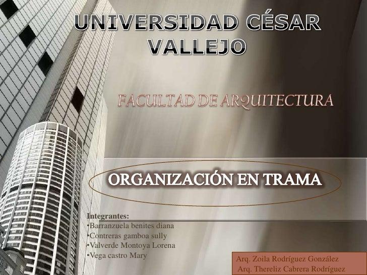 UNIVERSIDAD CÉSAR VALLEJO <br />FACULTAD DE ARQUITECTURA <br />ORGANIZACIÓN EN TRAMA<br />Integrantes:<br /><ul><li>Barran...