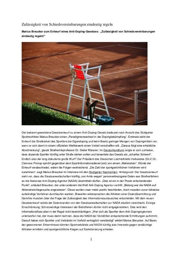 """1  Zulässigkeit von Schiedsvereinbarungen eindeutig regeln  Marius Breucker zum Entwurf eines Anti-Doping-Gesetzes: """"Zuläs..."""