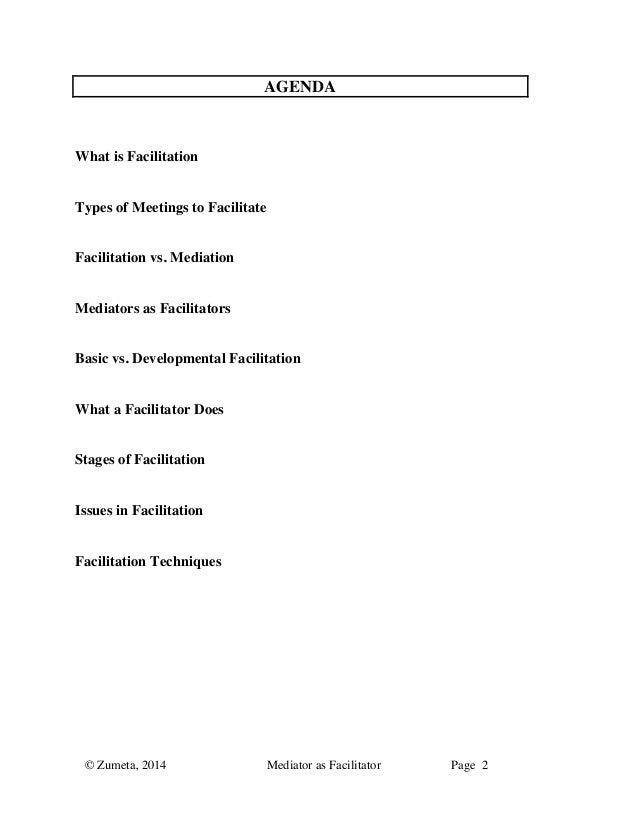 Zumeta: Mediators as facilitators