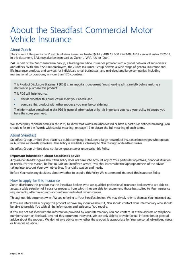 Zurich Steadfast Commercial Motor Insurance Pds