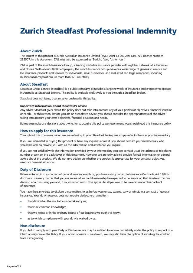 Zurich Steadfast Professional Indemnity Policy Wording