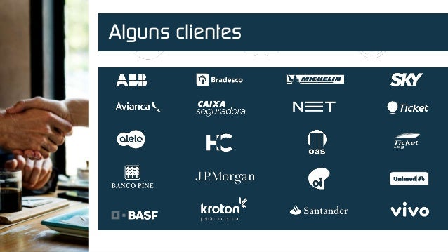 Powered by 600 K + USERS 500 + Applications 1 M + transactions / month Alguns clientes