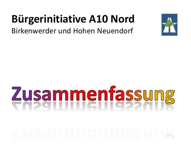 Bürgerinitiative A10 NordBirkenwerder und Hohen Neuendorf