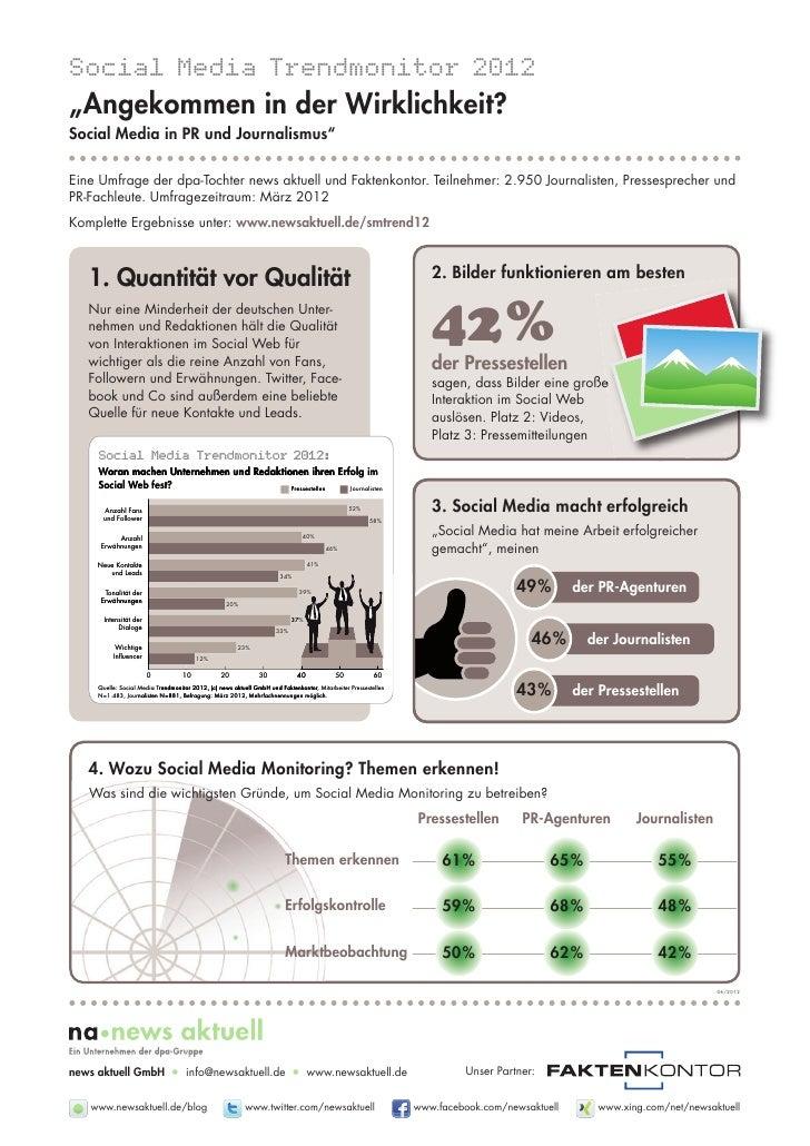 """Social Media Trendmonitor 2012""""Angekommen in der Wirklichkeit?Social Media in PR und Journalismus""""Eine Umfrage der dpa-Toc..."""