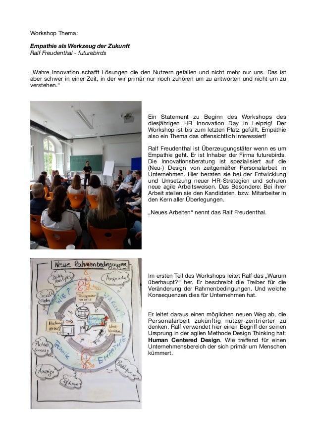 """Workshop Thema:  Empathie als Werkzeug der Zukunft Ralf Freudenthal - futurebirds """"Wahre Innovation schafft Lösungen die de..."""