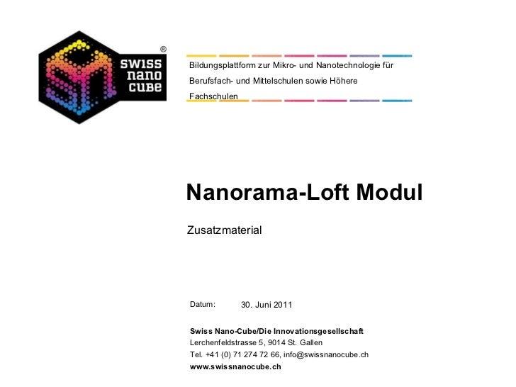 Nanorama-Loft Modul Zusatzmaterial 30. Juni 2011