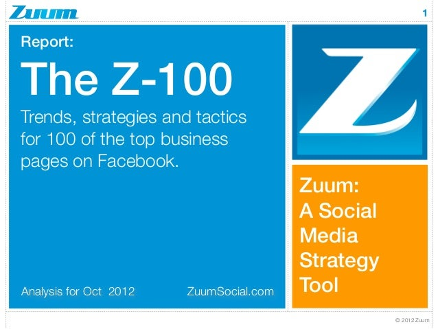 1Report:The Z-100Trends, strategies and tacticsfor 100 of the top businesspages on Facebook.                              ...