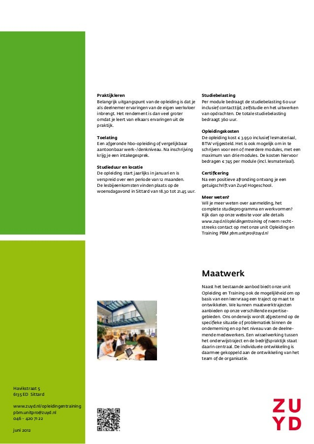 Zuyd factsheet post hbo opleiding strategisch hrm for Opleiding hovenier hbo