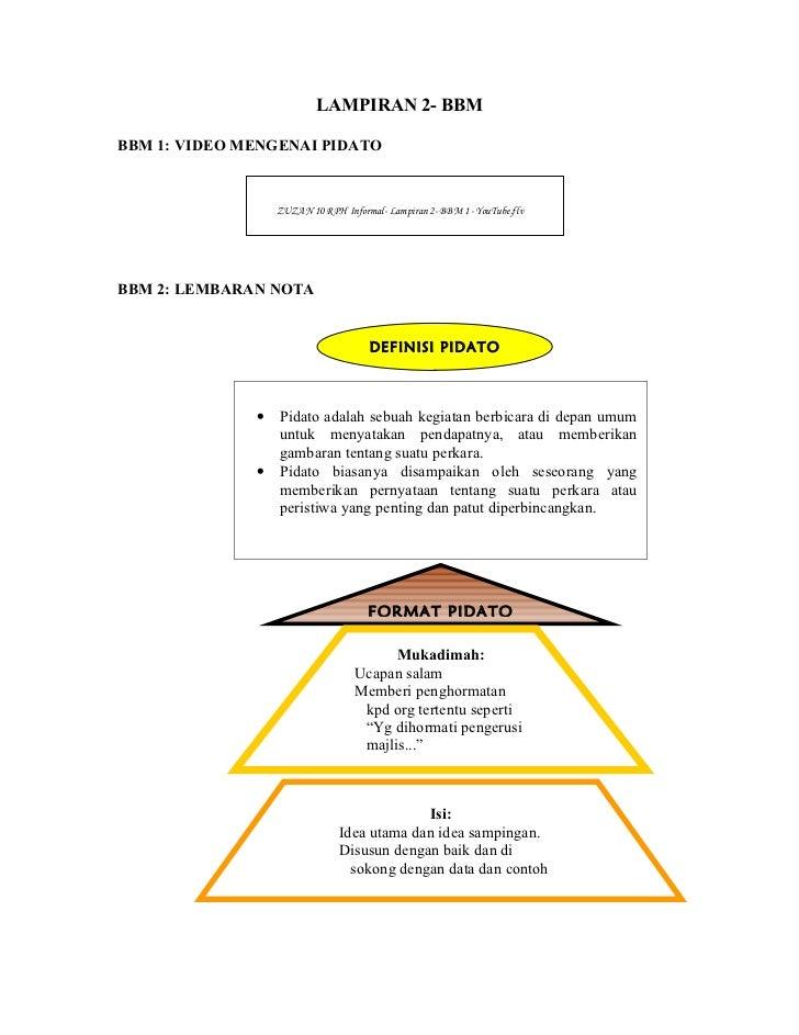 LAMPIRAN 2- BBMBBM 1: VIDEO MENGENAI PIDATO                  ZUZAN 10 RPH Informal- Lampiran 2- BBM 1 - YouTube.flvBBM 2: ...