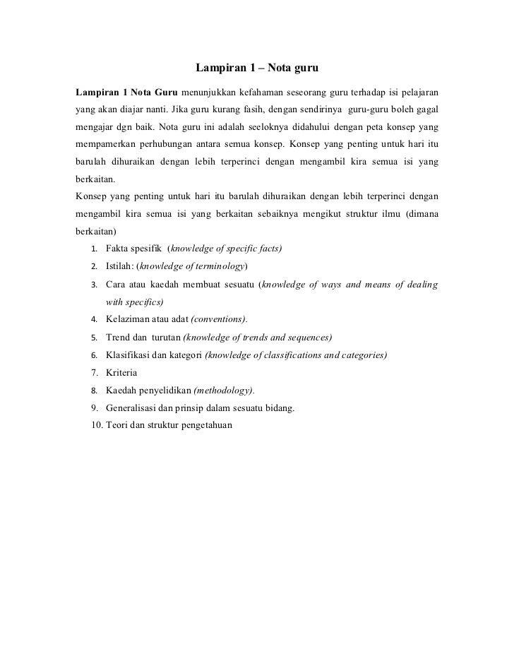 Lampiran 1 – Nota guruLampiran 1 Nota Guru menunjukkan kefahaman seseorang guru terhadap isi pelajaranyang akan diajar nan...