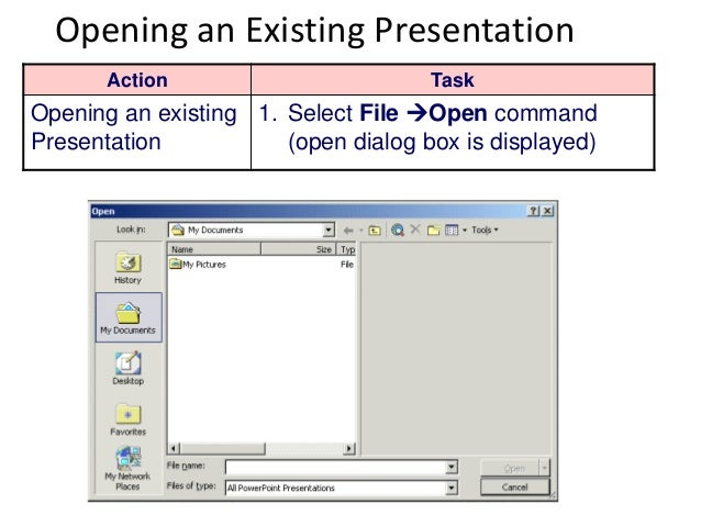Introduction to microsoft powerpoint 2003 presentation 10 opening an existing presentation toneelgroepblik Image collections