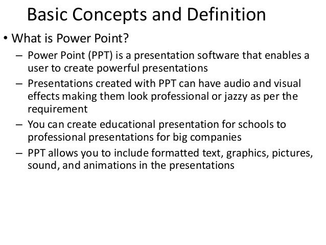 What is the meaning of presentation in ms powerpoint