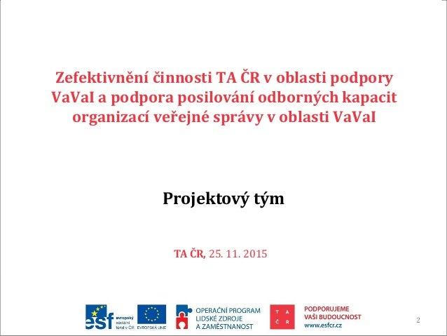 Závěrečná prezentace projektu zefektivnění TA ČR Slide 2