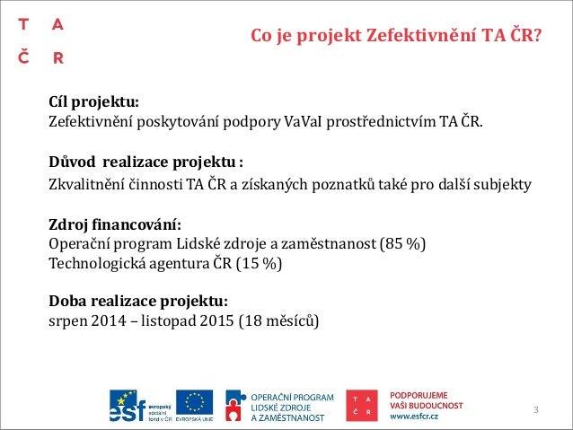 Závěrečná prezentace projektu zefektivnění TA ČR Slide 3