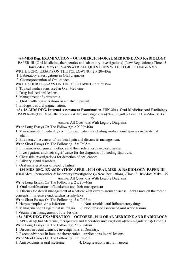 Short essay questions radiology