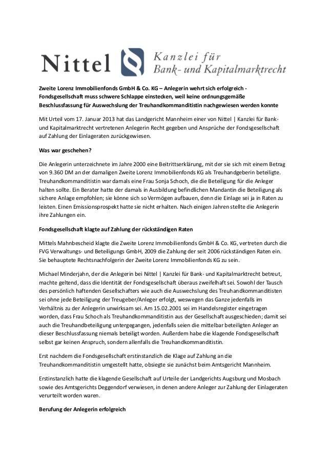 Zweite Lorenz Immobilienfonds GmbH & Co. KG – Anlegerin wehrt sich erfolgreich -Fondsgesellschaft muss schwere Schlappe ei...