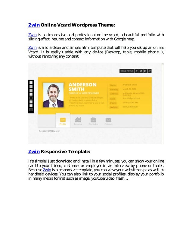 zwin responsive vcard wordpress theme free download