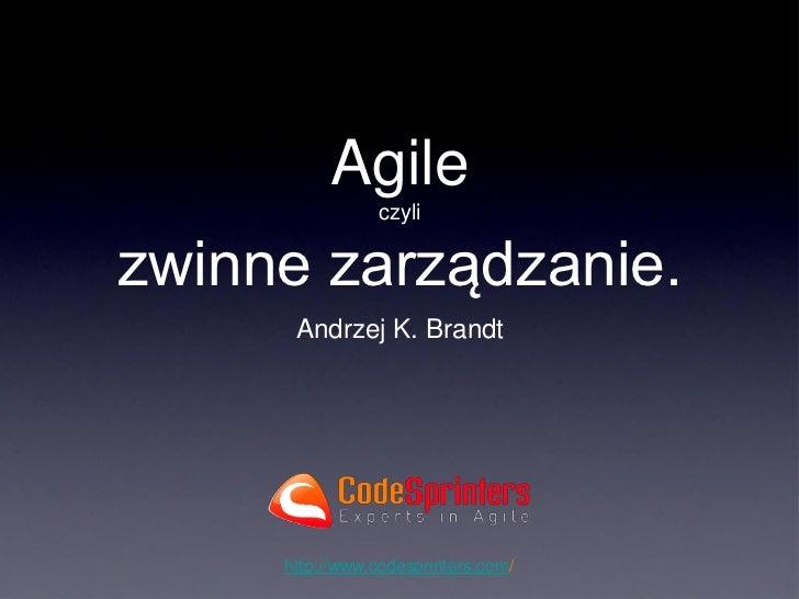 Agile                czylizwinne zarządzanie.      Andrzej K. Brandt     http://www.codesprinters.com/