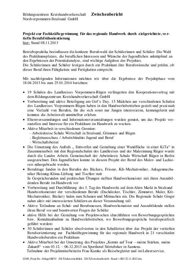 Bildungszentrum Kreishandwerkerschaft Nordvorpommern-Stralsund GmbH  Zwischenbericht  Projekt zur Fachkräftegewinnung für ...