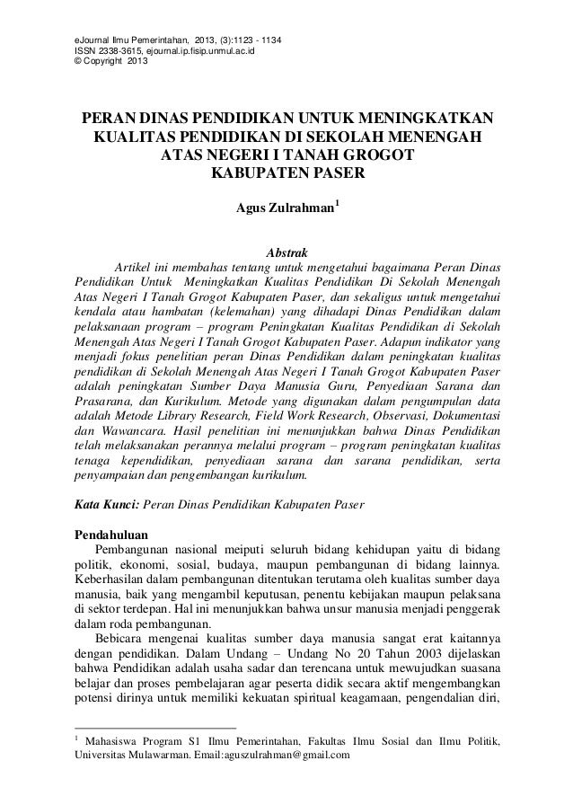 eJournal Ilmu Pemerintahan, 2013, (3):1123 - 1134 ISSN 2338-3615, ejournal.ip.fisip.unmul.ac.id © Copyright 2013 PERAN DIN...