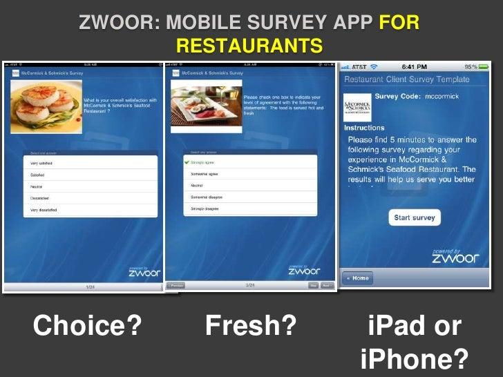 ZWOOR: MOBILE SURVEY APP FOR          RESTAURANTSChoice?     Fresh?        iPad or                         iPhone?