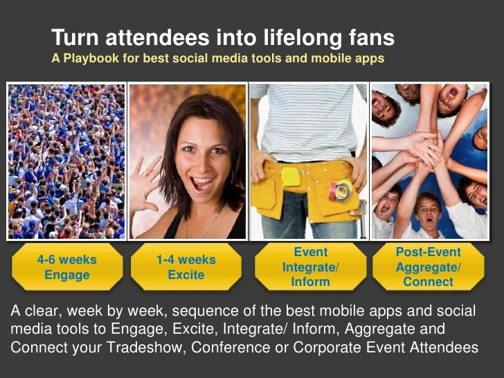 Turn attendees into lifelong fans     A Playbook for best social media tools and mobile apps                              ...