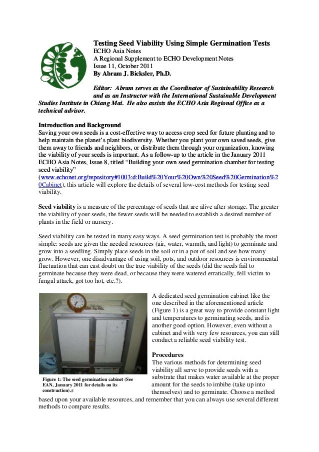 Testing Seed Viability Using Simple Germination Tests  ECHO Asia Notes  A Regional Supplement to ECHO Development Notes  I...