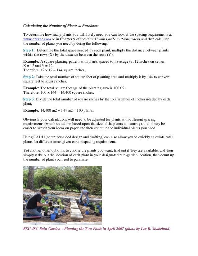 Kansas Rain Garden Design and Implementation Manual Kansas State Un