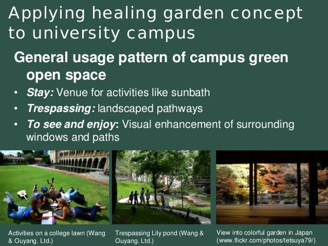 Applying healinggarden concept to university campus  General usage pattern of campus green open space  •Stay:Venue for act...
