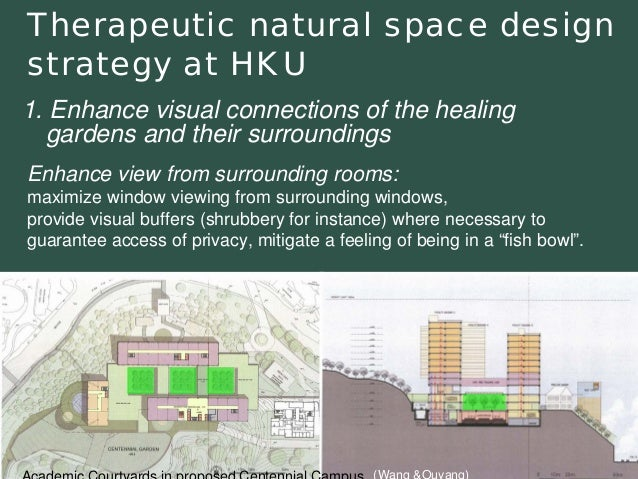 Therapeutic natural space design strategy at HKUEnhance view from surrounding rooms: maximize window viewing from surround...