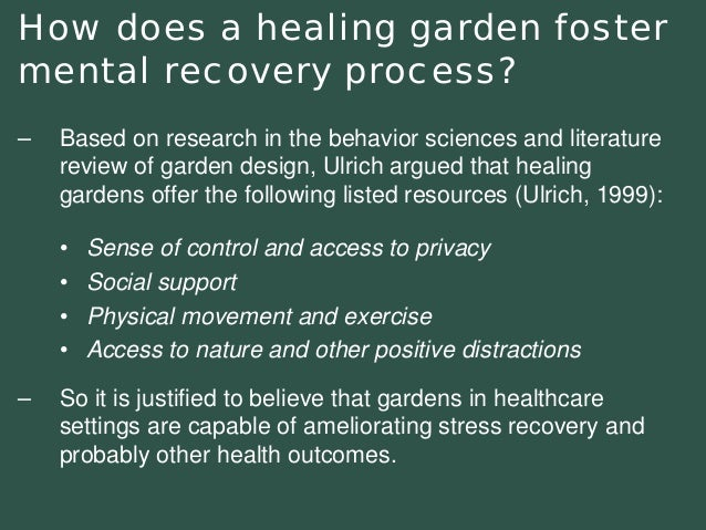 •Sense of control and access to privacy•Social support•Physical movement and exercise•Access to nature and other positive ...