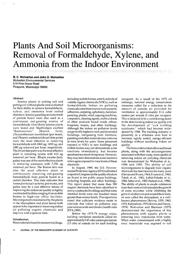 Plants And Soil Microorganisms:  Removal of Formaldehyde,  Xylene,  and Ammonia from the  1nd°°r Envir°n ment  B.  c.  wol...