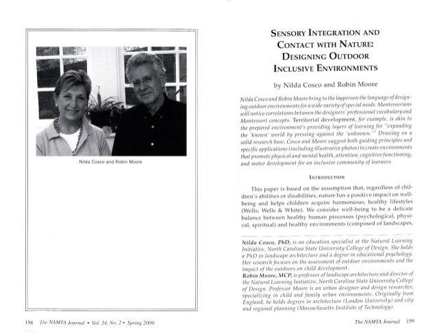 Nilda Cosco and Robin Moore  ISX  ihr' »NĹÄJITA 4!‹)l')Ą! lll!  ° lhl.  _(4, Nn.  Z ' . Spii/ re 2009  SENSORY INTEGRATION...