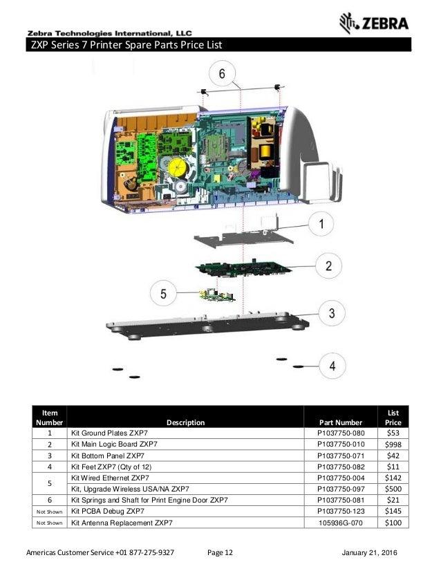 Americas Customer Service +01 877-275-9327 Page 12 January 21, 2016 ZXP Series 7 Printer Spare Parts Price List _____ ____...