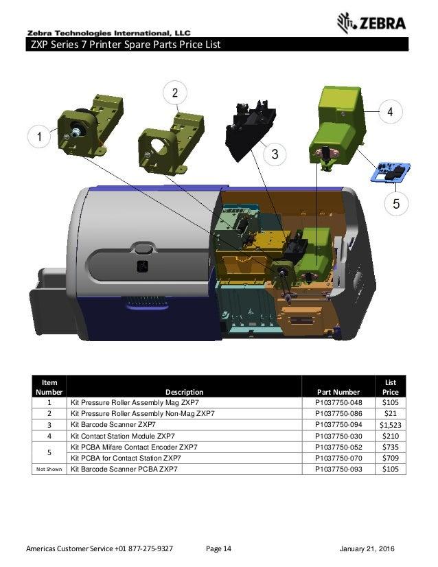 Americas Customer Service +01 877-275-9327 Page 14 January 21, 2016 ZXP Series 7 Printer Spare Parts Price List _____ ____...
