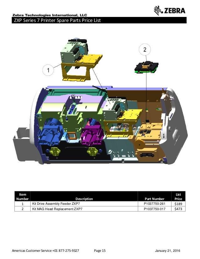 Americas Customer Service +01 877-275-9327 Page 15 January 21, 2016 ZXP Series 7 Printer Spare Parts Price List _____ ____...