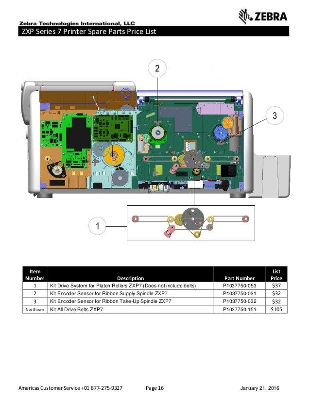 Americas Customer Service +01 877-275-9327 Page 16 January 21, 2016 ZXP Series 7 Printer Spare Parts Price List _____ ____...