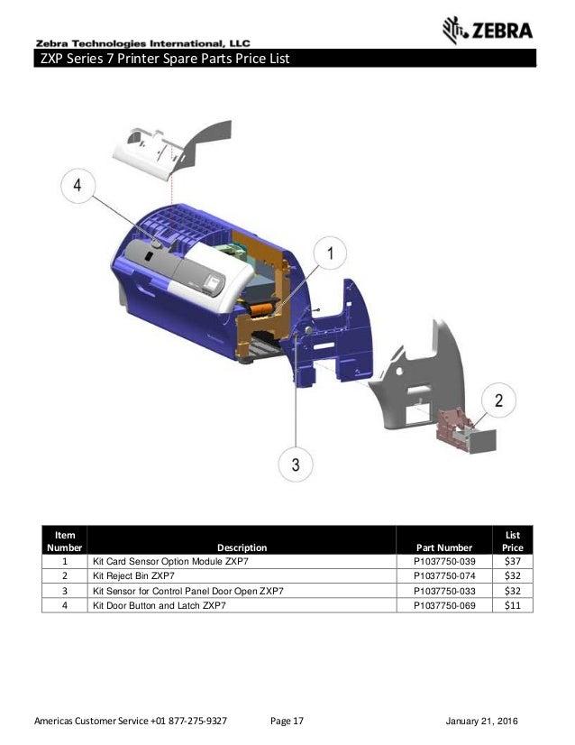 Americas Customer Service +01 877-275-9327 Page 17 January 21, 2016 ZXP Series 7 Printer Spare Parts Price List _____ ____...