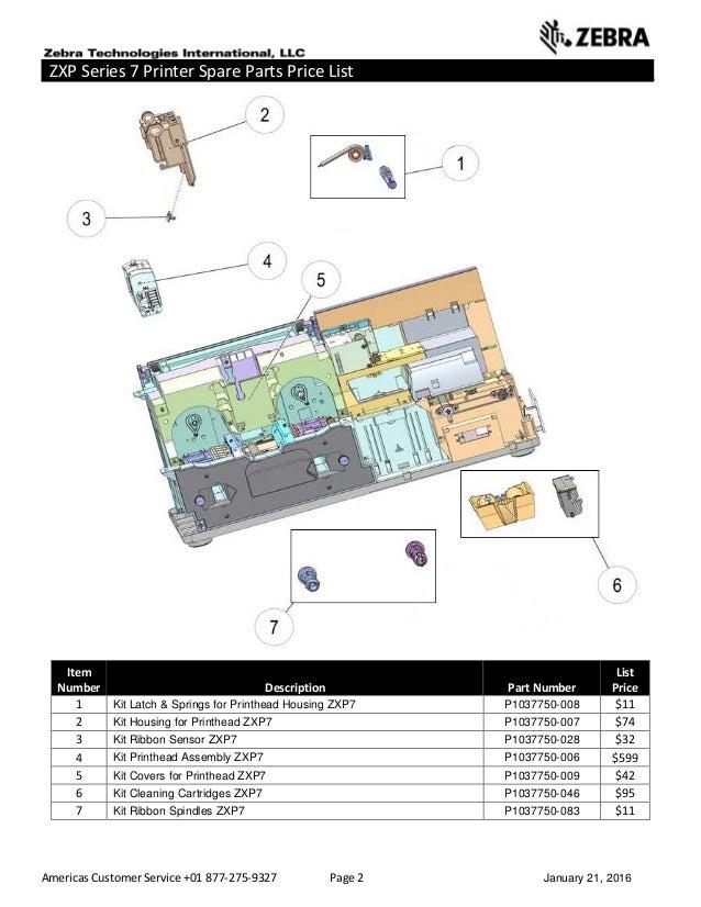 Americas Customer Service +01 877-275-9327 Page 2 January 21, 2016 ZXP Series 7 Printer Spare Parts Price List _____ _____...