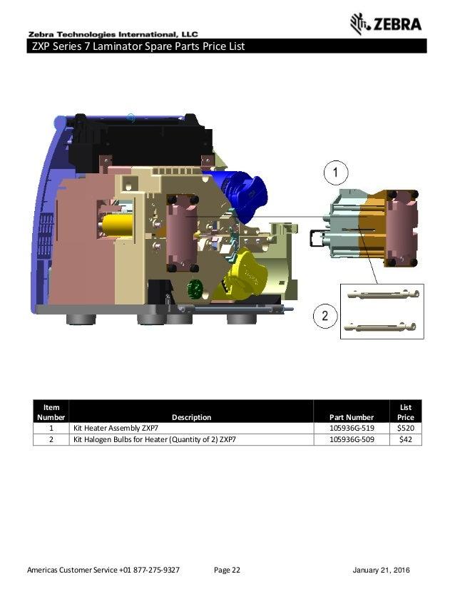 Americas Customer Service +01 877-275-9327 Page 22 January 21, 2016 ZXP Series 7 Laminator Spare Parts Price List ______ _...