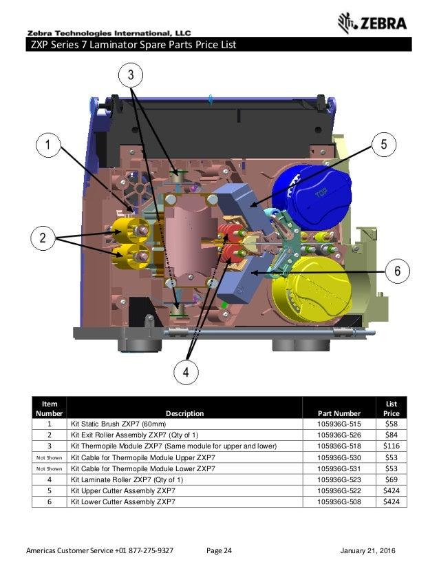 Americas Customer Service +01 877-275-9327 Page 24 January 21, 2016 ZXP Series 7 Laminator Spare Parts Price List ______ _...