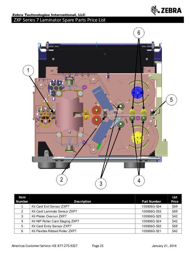 Americas Customer Service +01 877-275-9327 Page 25 January 21, 2016 ZXP Series 7 Laminator Spare Parts Price List ______ _...