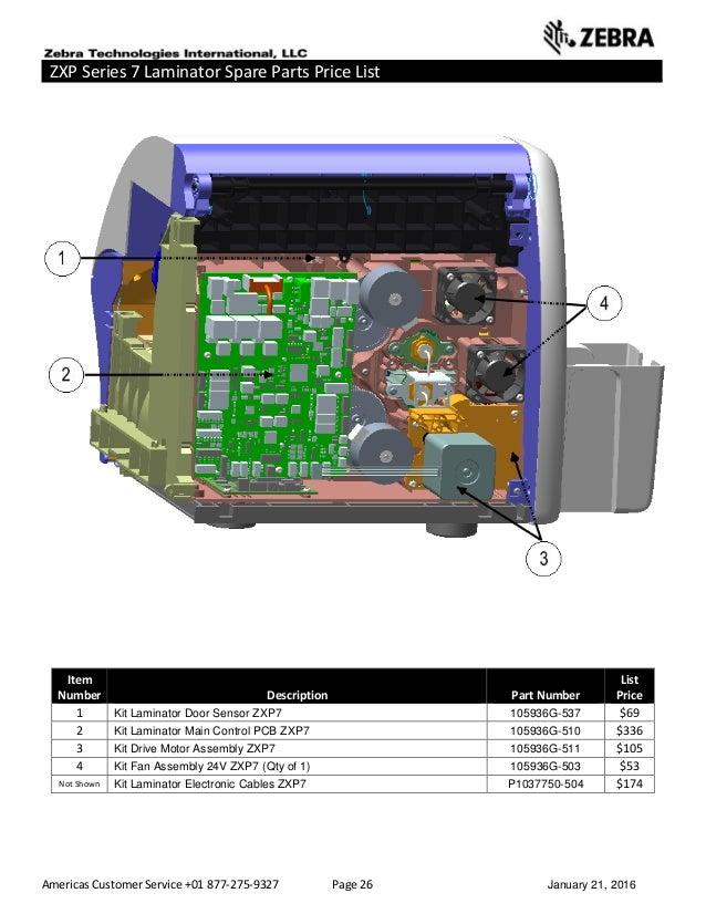 Americas Customer Service +01 877-275-9327 Page 26 January 21, 2016 ZXP Series 7 Laminator Spare Parts Price List ______ _...